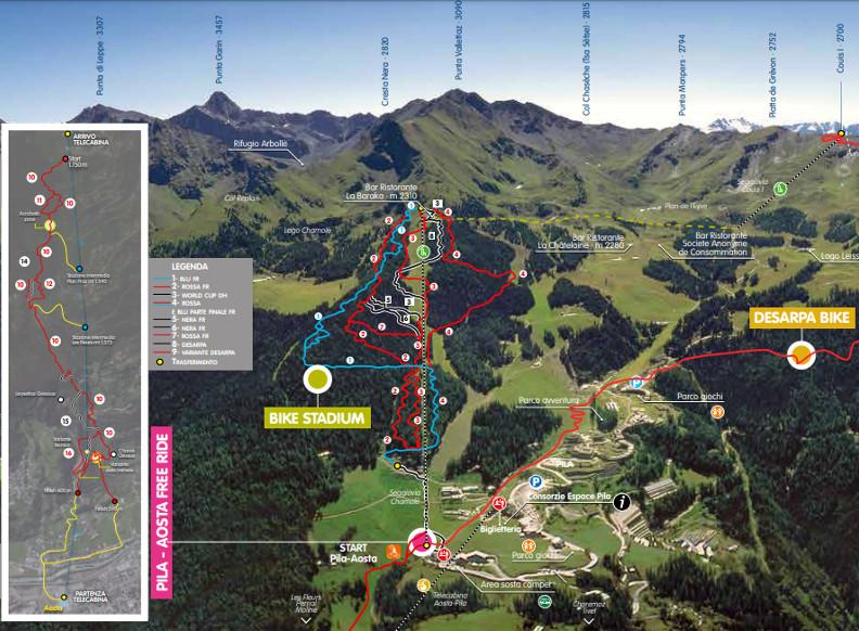 Trail map Bike park Pila Aosta