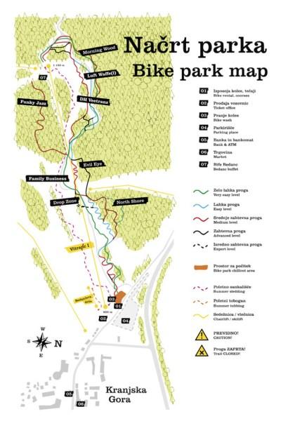 streckenplan bike park kranjska gora map kaart