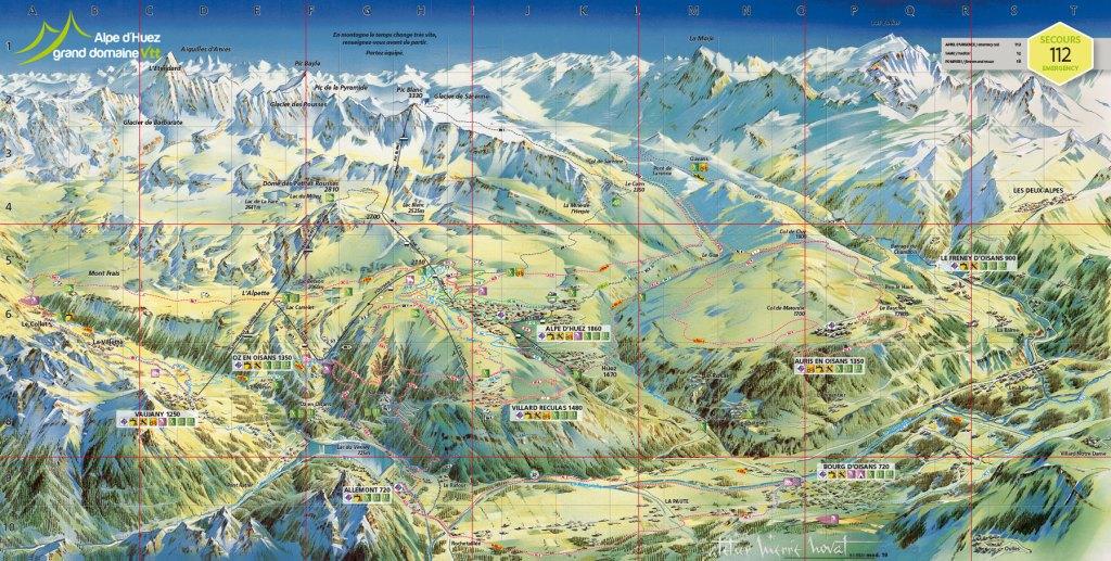 mountain bike map bike park alpe d'huez carte karte kaart
