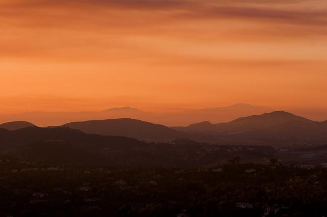 Sunset from Bernado Peak in August 2005