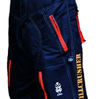 Astek Men's Orange Black MTB BMX Baggy Padded Mountain Bike Shorts