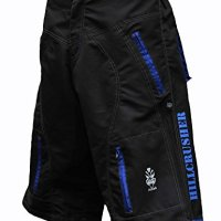Astek Men's Blue Black MTB BMX Baggy Padded Mountain Bike Shorts