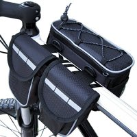 Anyget Bicycle Frame Pannier Top Tube Bag with Rainproof Cover for Mountain Road Bike