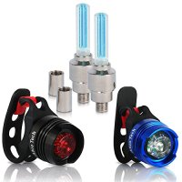 Bike Light - Front and Rear Aluminum LED Bike Light Set - 2 Valve Wheels Lights - 2 Waterproof High Intensity Multi-Purpose Rear Bike Light for Bicycle