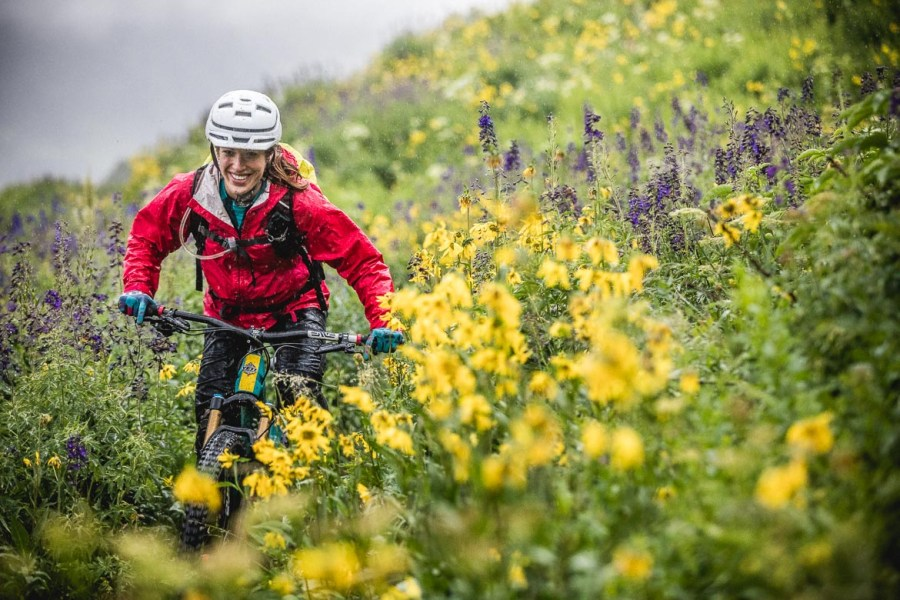 Riding the 401 trail in Crested Butte, during our mountain bike tour Colorado. We loved this photo so much we picked it amongst our Top 10 mountain bike photos.