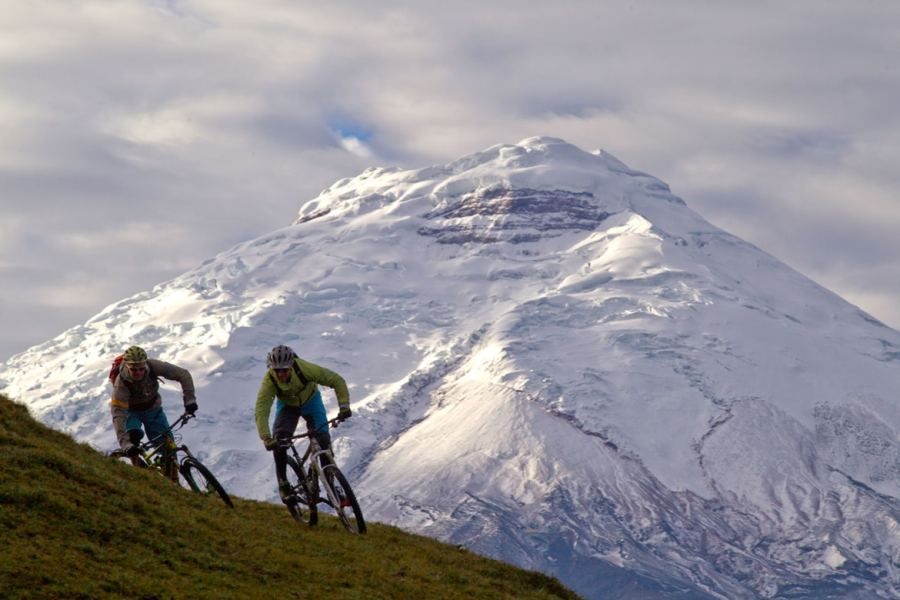 Riding on volcanoes in Ecuador as part of a mountain bike adventures South America