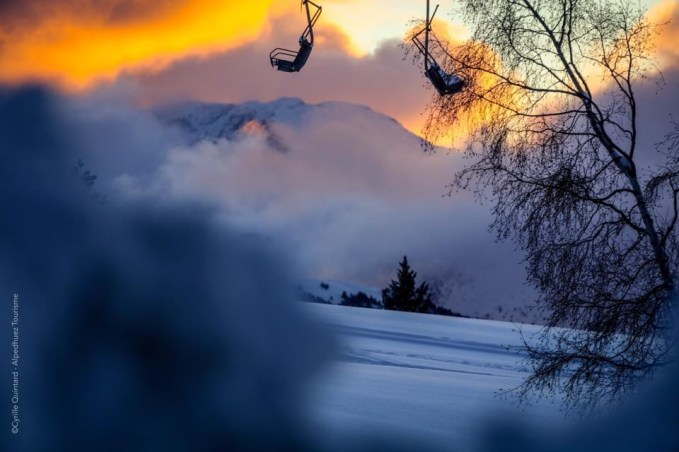 Chairlift in sunset
