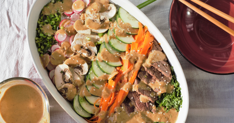 Thai Beef Noodle Salad with Spicy Peanut Sauce