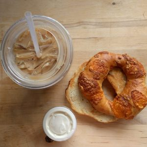 cold brew coffee homemade bagel mountaineer