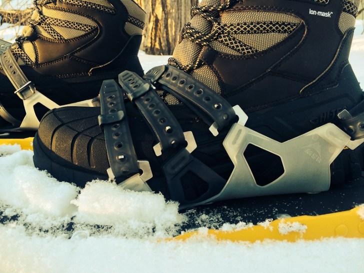 Testing the Hi-Tec Ozark on MSR snowshoes.