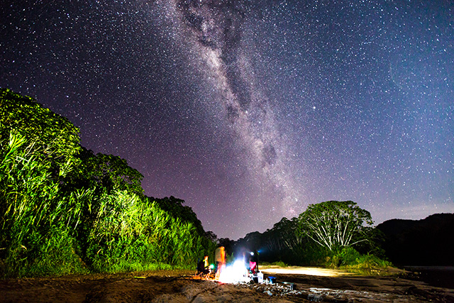 At our third camp, the clouds dissipated and the Milky Way appeared to glow above the jungle canopy. After a hearty meal cooked over the fire, the crew was always eager to fall asleep to the deep sounds of the forest.