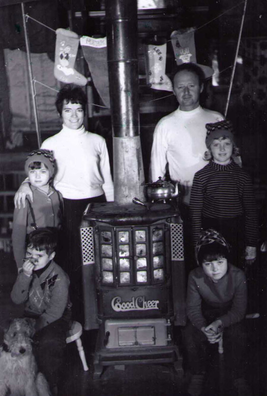 Don MacLaurin with his family in their Whistler cabin, 1960s. Photo courtesy Whistler Museum.