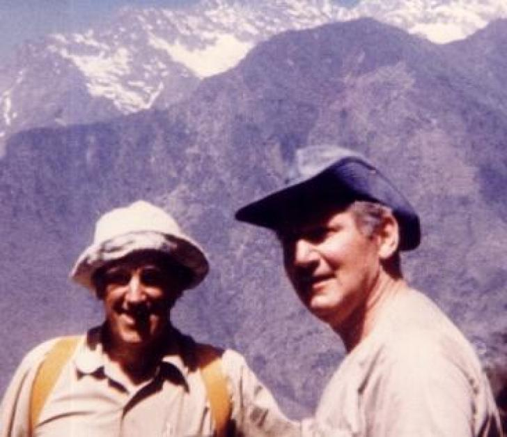 Zeke O'Connor (right) and Sir Edmund Hillary in Nepal.