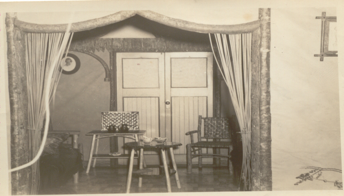 The inside of the tea-leaf reading room, c. 1930s. Harrop's tea room was a floating cottage on Alta Lake in the 1920s. Mrs Harrop told fortunes by reading tealeaves. It was a popular tourist attraction from the neighbouring lodges. Photo courtesy Whistler Museum.