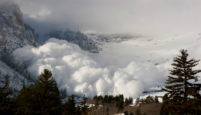 A massive, natural avalanche off Mt. Timpanogos, Wasatch Range, Utah.