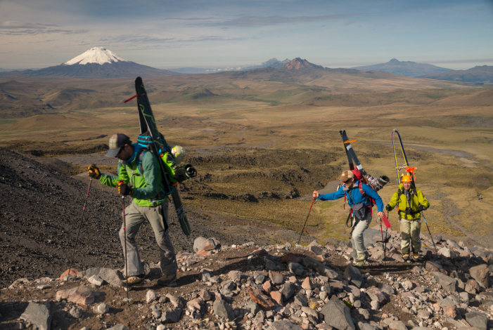 Acclimatization run and scoping the route up Antisana; Cotopaxi in the background. STEVE OGLE PHOTO.