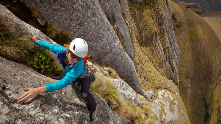 Kate Rutherford leading on Mt. Namuli with Majka Burhardt