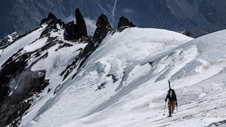"Mount Kazbek's (5,033 m) lower northeast ridge plastered with ice. ""We'd heard that Georgia had a great winter for snowfall. But like any exotic destination, snow reports are limited and unreliable at best. I always make sure my edges are razor sharp before any expedition. TREVOR HUNT PHOTO."