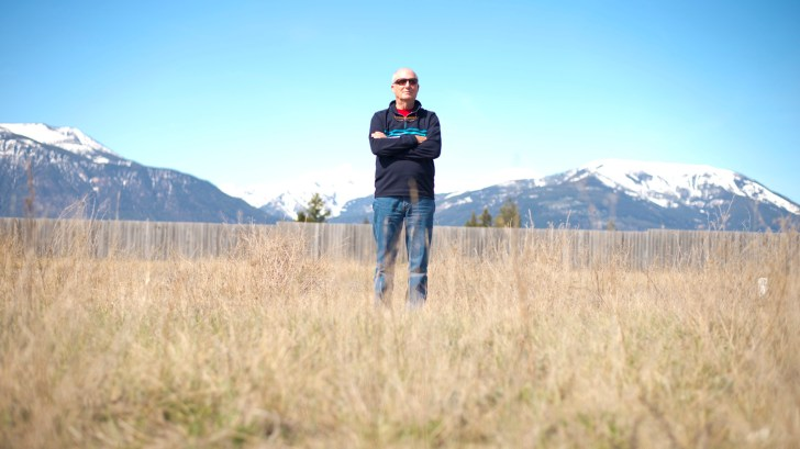 Jumbo proponent (vice prez of Glacier resorts) Grant Costello near his home in Invermere, BC; Mount Nelson across from Pano resort and the Purcells visible behind