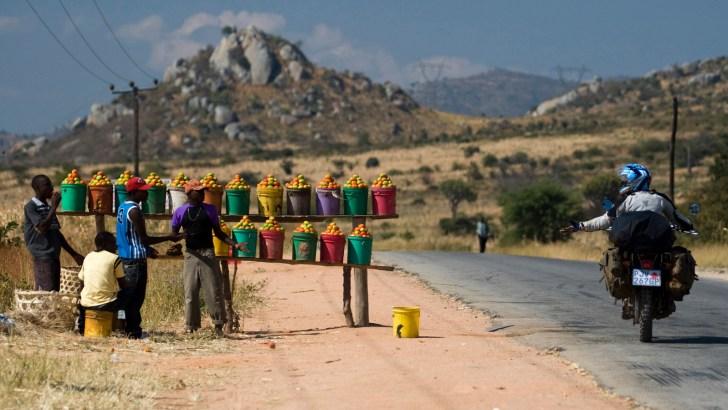 Colorful roadside tomato stands, rural Tanzania