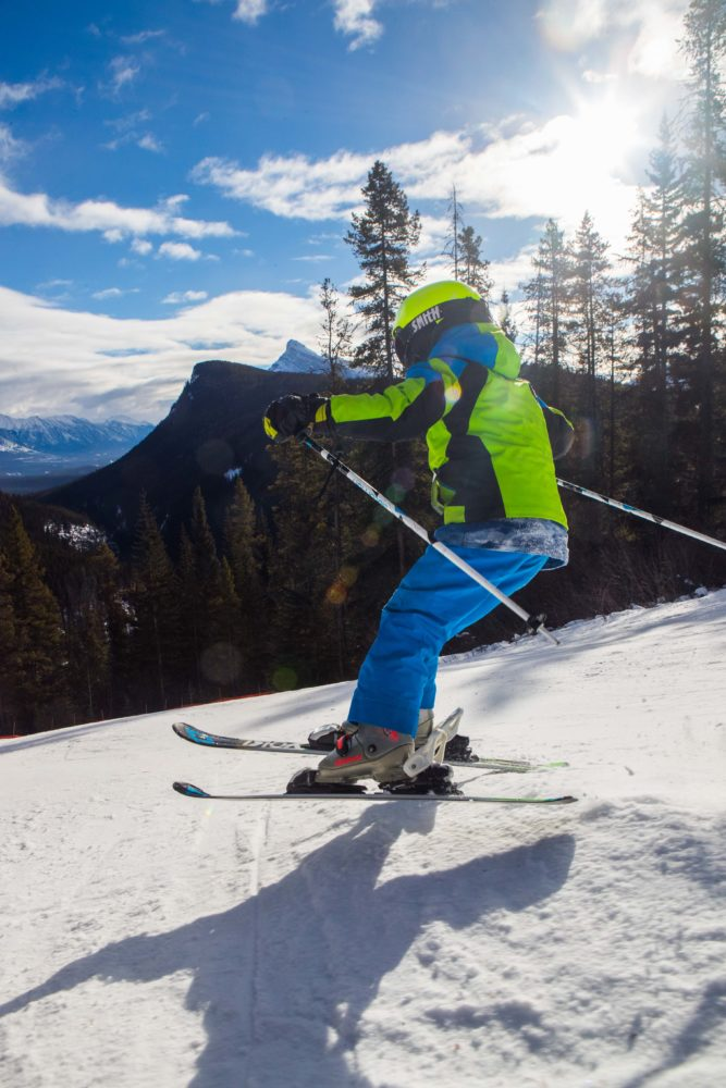 7-year old catching air at Mount Norquay.