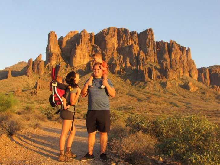 The family catching a few last rays in the Arizona desert.