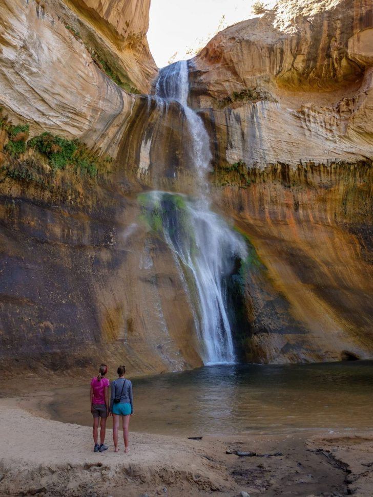 Corry Bondini and friend checking out Lower Calf Creek Falls