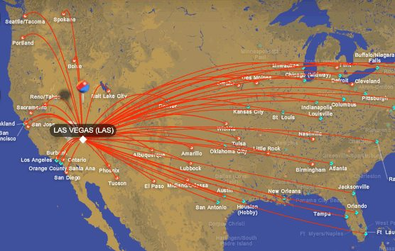 Airline map of all flights into Las Vegas
