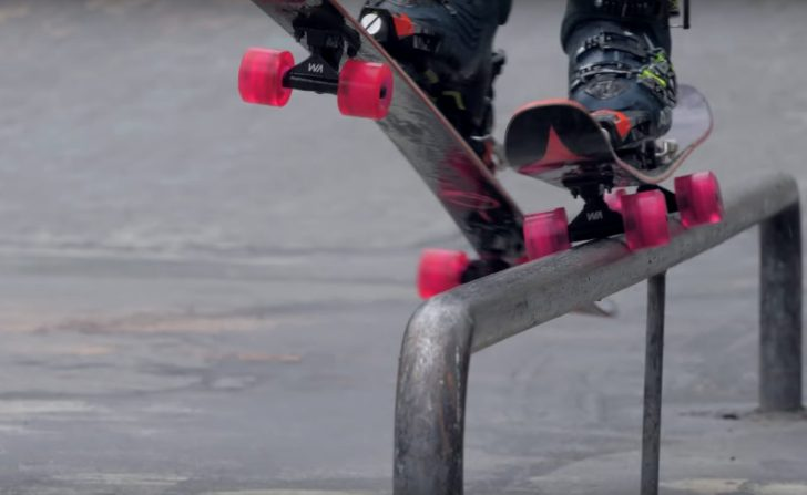 Skate blades mounted onto skis