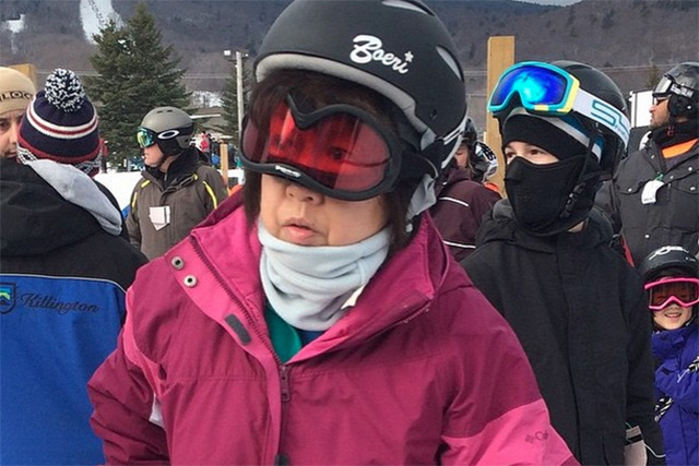 Jerry of the day: woman wearing ski goggle upside down