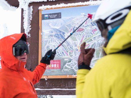 Sign of the ski runs at Sun Peaks