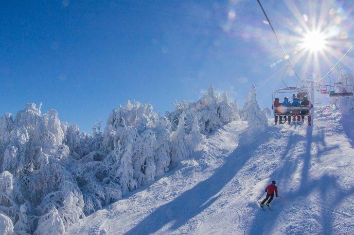 skier and ski lift