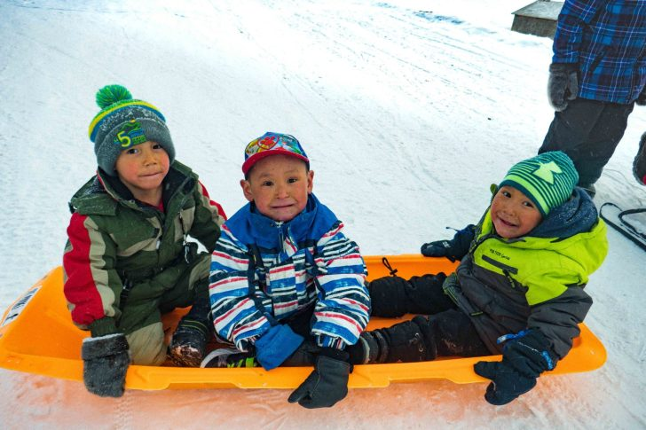 Kids in a sled