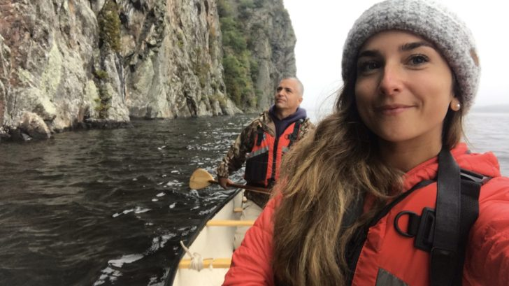 Hayley and Dad paddling Canoe