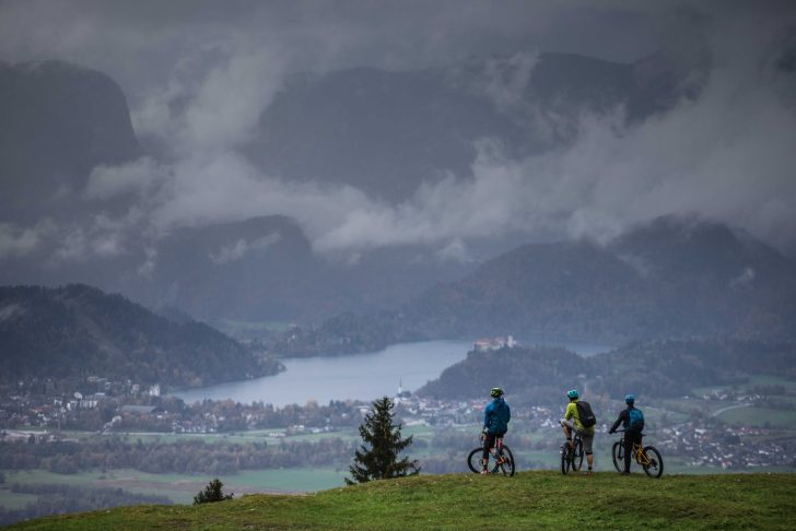 Mountain Bikers Overlooking Slovenia