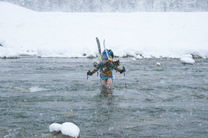 Crossing a river in the winter