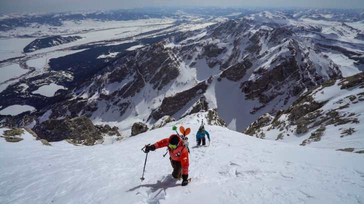Jimmy Chin and Cody Townsend ascending the Grand Teton in Wyoming.