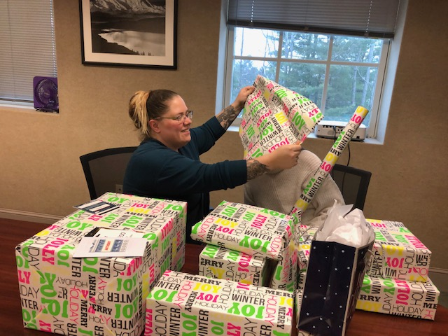 Eurana McGrath wrapping gifts