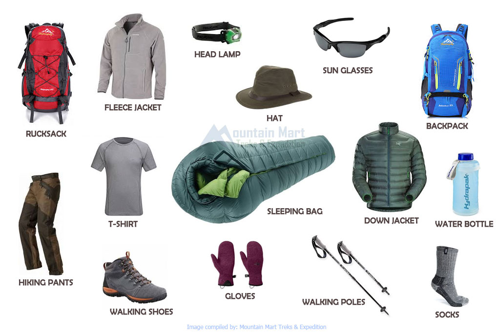 Trekking gear list adventure holidays in nepal for Travel expedition gear