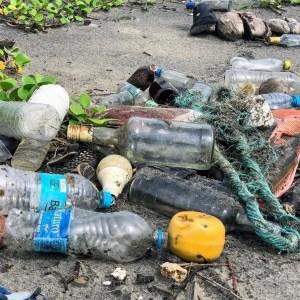 polypropylene plastic waste on beach