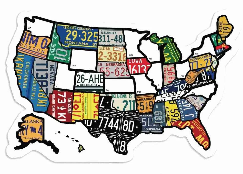 sticker map of USA