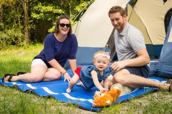 Blue campsite mat made from recycled plastic reversible
