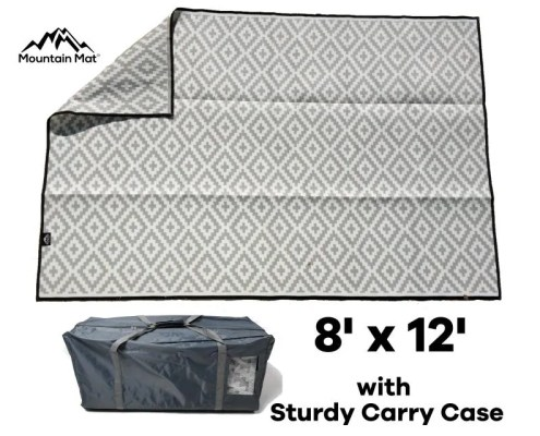 Mountain Mat Premium recycled plastic outdoor reversible camping RV patio mat size 8' x 12' with carry bag