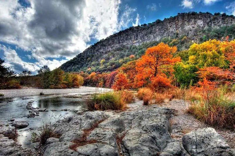 fall colors at garner state park by Knowsphotos