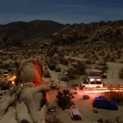 campground at night in desert
