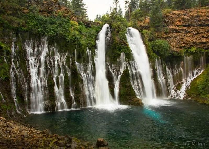 waterfalls into lake