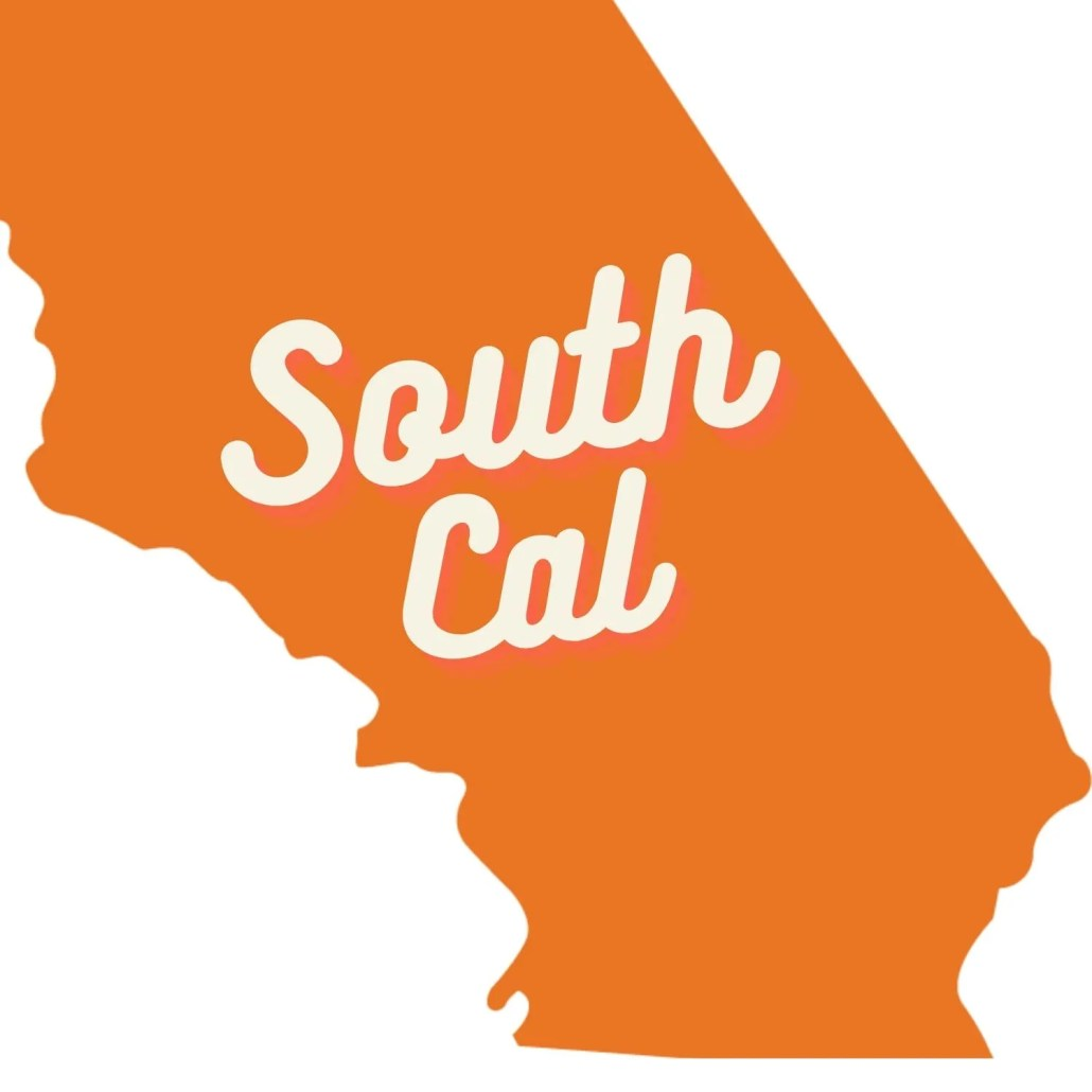 orange graphic of south california