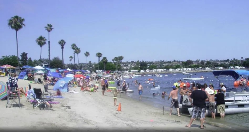 crowded beach in San Diego