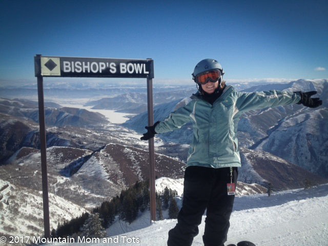 Mountain Mom snowboarding at Bishops Bowl