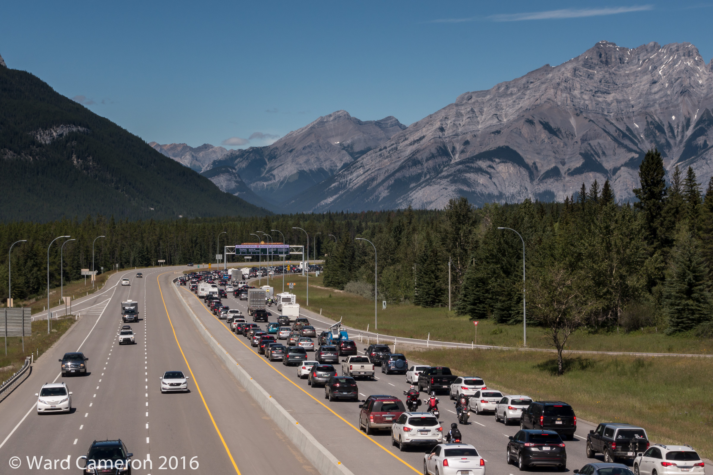 Long lineups of cars waiting to enter Banff National Park